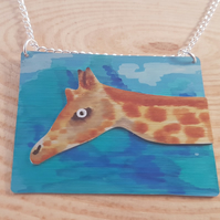 Anodised Aluminium Giraffe Scene Necklace AAN031809
