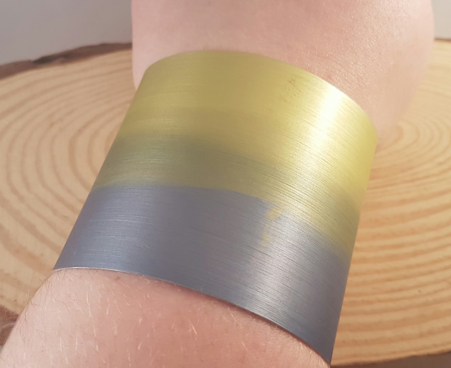 Anodised Aluminium Dip Dyed Purple and Yellow Bangle AABA031803