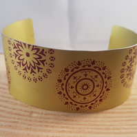 Anodised Aluminium Yellow Mandala Bangle AABA041802