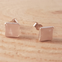 Sterling Silver 6mm Rose Quartz Square Stud Earrings