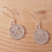 Sterling Silver 1917 Threepence Drop Dangle Earrings
