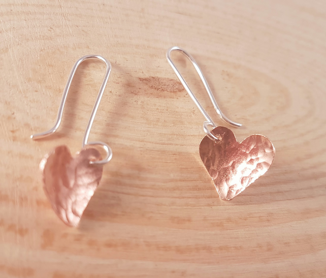 Sterling Silver and Copper Hammered Hearts Drop Dangle Earrings