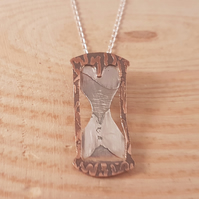 Sterling Silver and Copper Etched Hour Glass Necklace
