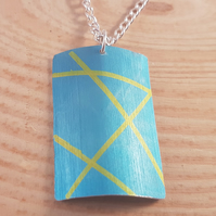 Anodised Aluminium Blue and Yellow Lines Curved Necklace AAN031816