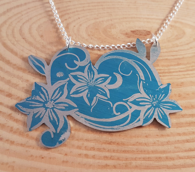 Anodised Aluminium Blue Flowers Statement Necklace AAN041801