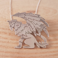 Sterling Silver Etched Griffin Necklace
