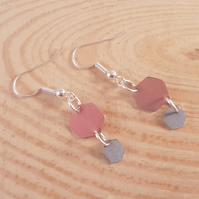 Anodised Aluminium Pink and Purple Hexagon Drop Dangle Earrings AAE031804