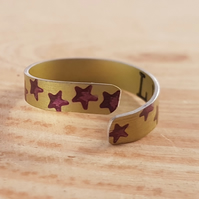 Anodised Aluminium Yellow and Purple Star Cross Over Adjustable Ring AAR041804
