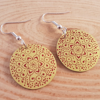 Anodised Aluminium Yellow Mandala Drop Dangle Earrings AAE041801