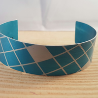 Anodised Aluminium Blue and Silver Checked Bangle AABA041804
