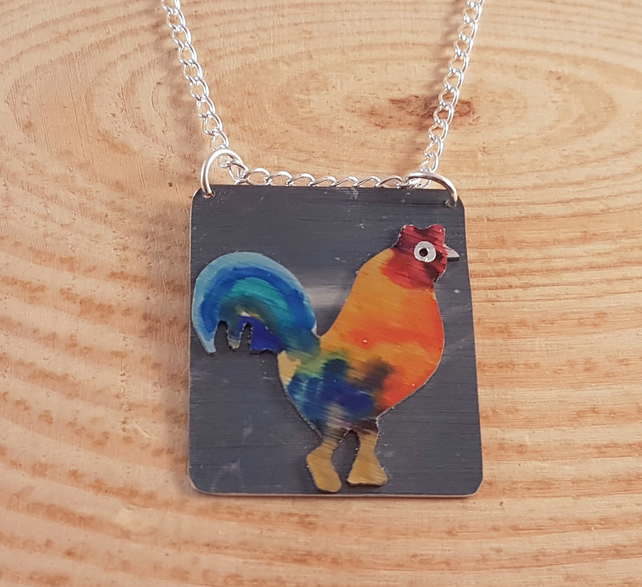 Anodised Aluminium Rooster Necklace AAN041806