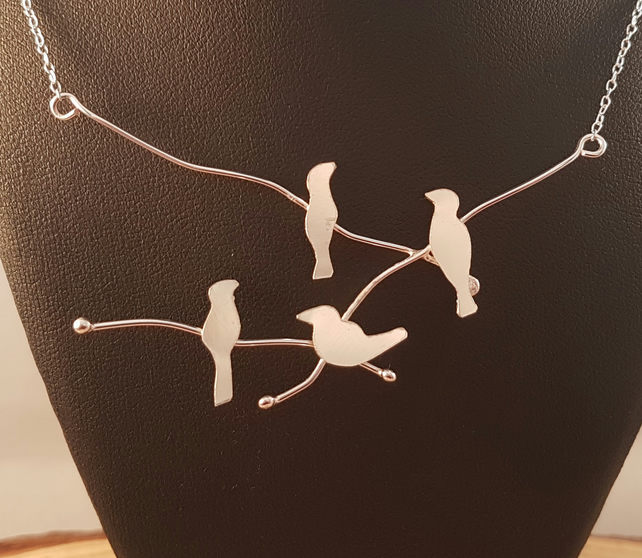 Sterling Silver Birds On A Branch Necklace