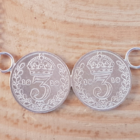 Sterling Silver Double Threepence Necklace