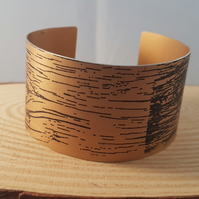 Anodised Aluminium Orange Wood Effect Bangle AABA051804