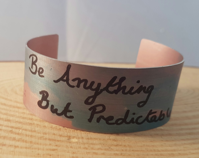 Anodised Aluminium 'Be Anything But Predictable' Red Bracelet Bangle AABA051806
