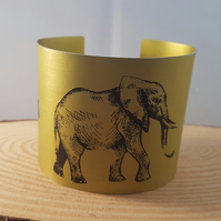 Anodised Aluminium Yellow Animal Statement Bangle Bracelet AABA051807