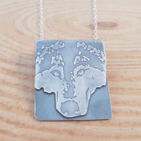 Sterling Silver Etched Wolf Scene Necklace
