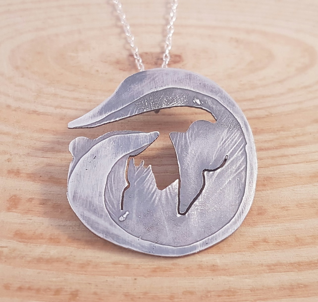 Sterling Silver Etched Curled Skunk Necklace