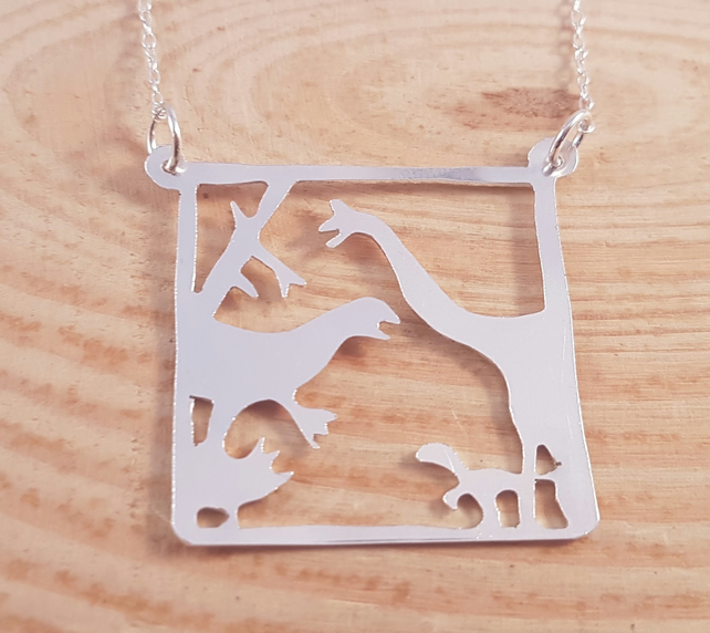 Sterling Silver Pierced Dinosaur Scene Necklace