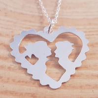 Sterling Silver 'The Kiss' Pierced Heart Necklace