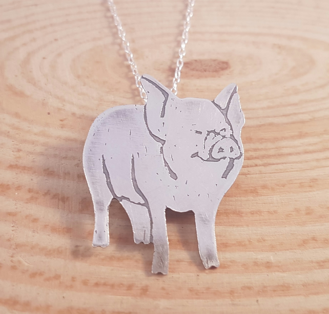 Sterling Silver Etched Pig Necklace