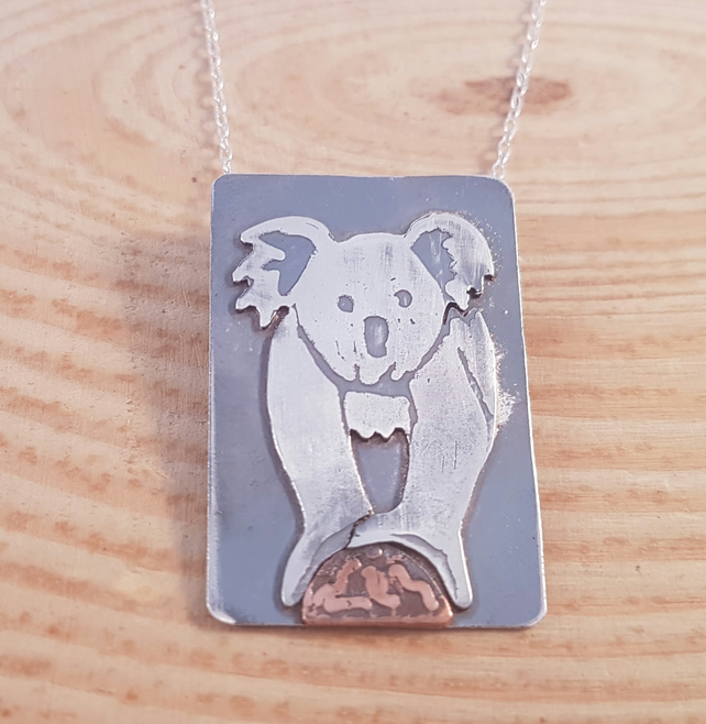 Sterling Silver and Copper Etched Koala Scene Necklace