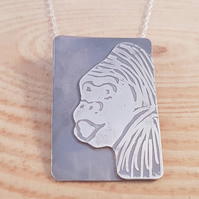 Sterling Silver Etched Gorilla Scene Necklace