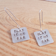 Sterling Silver Stamped 'Play It By Ear' Drop Dangle Earrings