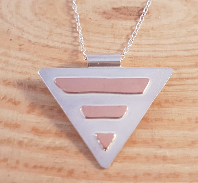 Sterling Silver and Copper Striped Triangle Necklace