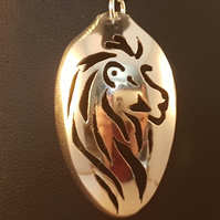 Sterling Silver Upcycled Pierced Lion Spoon Necklace
