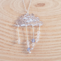 Sterling Silver Hammered Rain Cloud Necklace With Swarovski Elements