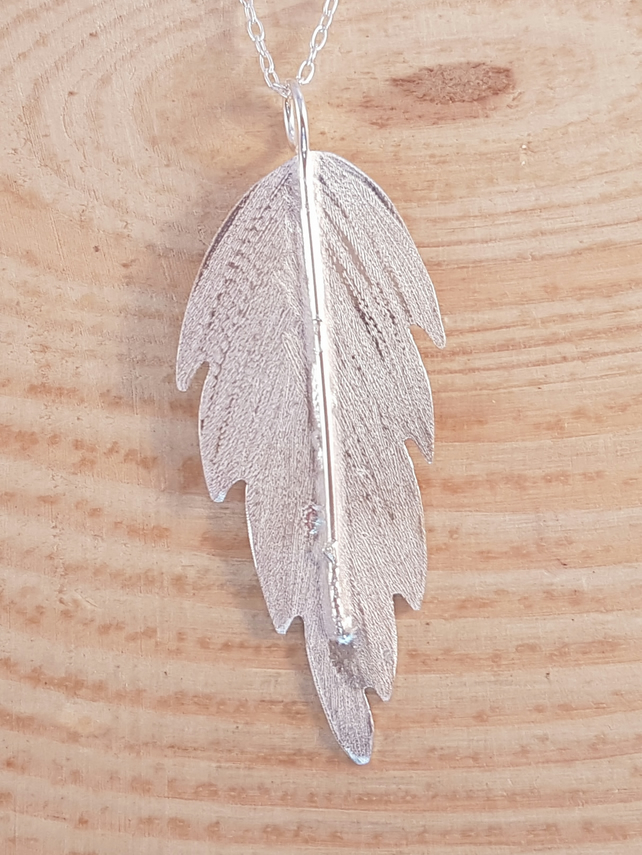 Sterling Silver Textured Feather Necklace