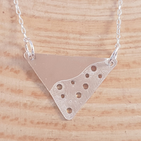 Sterling Silver Etched Triangle Necklace