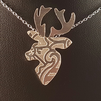 Sterling Silver Etched Mehndi Stag Necklace
