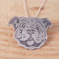 Sterling Silver Etched British Bulldog Necklace