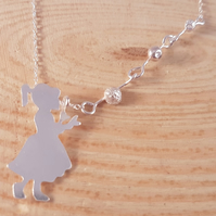 Sterling Silver Girl Blowing Bubbles Necklace