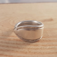 Upcycled Silver Plated Morse Spoon Handle Ring SPR081808