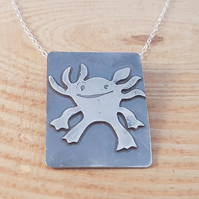 Sterling Silver Etched Axolotl Necklace