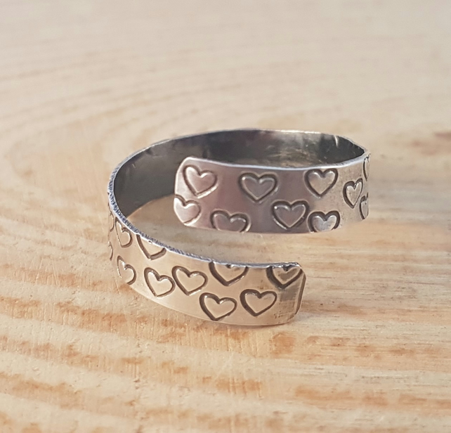 Sterling Silver Hand Stamped Heart Cross Over Adjustable Ring