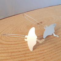 Sterling Silver Stingray Drop Dangle Earrings