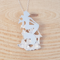 Sterling Silver Mermaid On A Rock Necklace