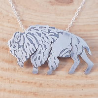 Sterling Silver Etched Buffalo Necklace