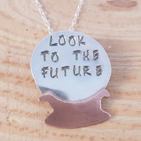 Sterling Silver and Copper Stamped 'Look To The Future' Crystal Ball Necklace