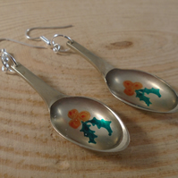 Upcycled Silver Plated Sugar Tong Spoon Holly Earrings SPE101801