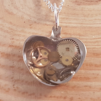 Upcycled Silver Plated Cogs in Resin Heart Spoon Necklace SPN081819