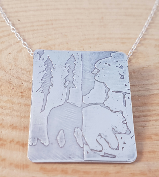 Sterling Silver Etched Polar and Grizzly Bear Necklace