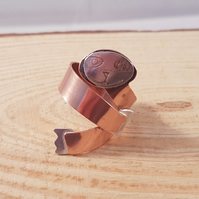 Sterling Silver and Copper Etched Sloth Adjustable Ring