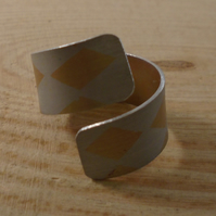 Anodised Aluminium Orange Check Cross Over Adjustable Ring AAR111802