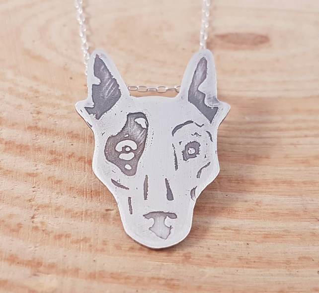Sterling Silver Etched Bulldog Necklace