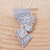 Sterling Silver Etched Egyptian Queen Necklace